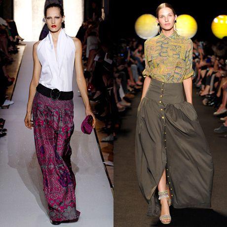 ...сочетание двух цветов придает длинным юбкам 2012 экстравагантности.