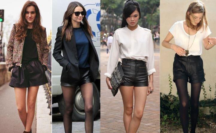 кожаные шорты пик моды лета