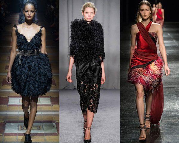 шикарные платья с перьевым обрамлением