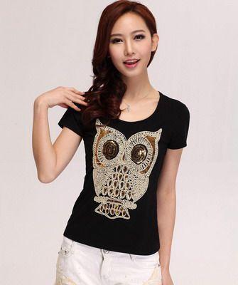 модная футболка с орнаментом сова