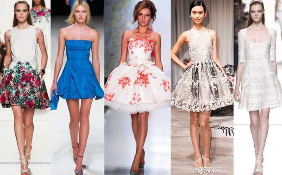 короткие модные пышные платья