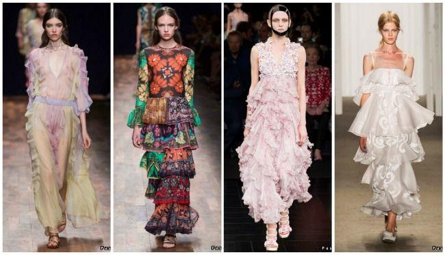 платья модные с рюшами