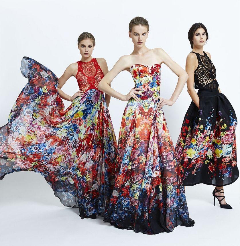 яркие краски в вечернем платье