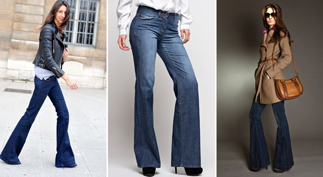 модно носить джинсы клеш