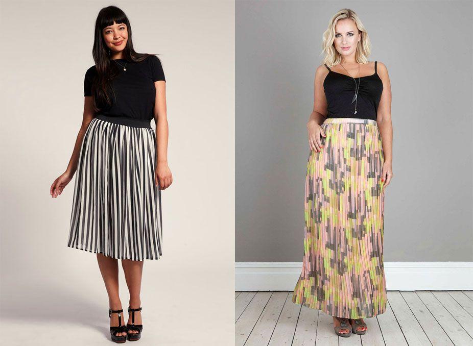 Модная юбка плиссе для полных женщин