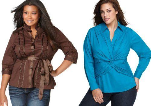 Модные блузки в рубашечном стиле для полных