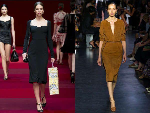 Модные офисные платья длиной чуть ниже колена
