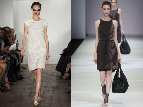 Модные офисные платья с открытыми плечами