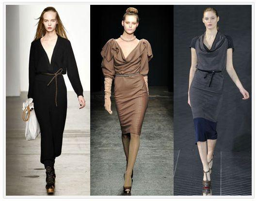 Модные офисные платья с поясом