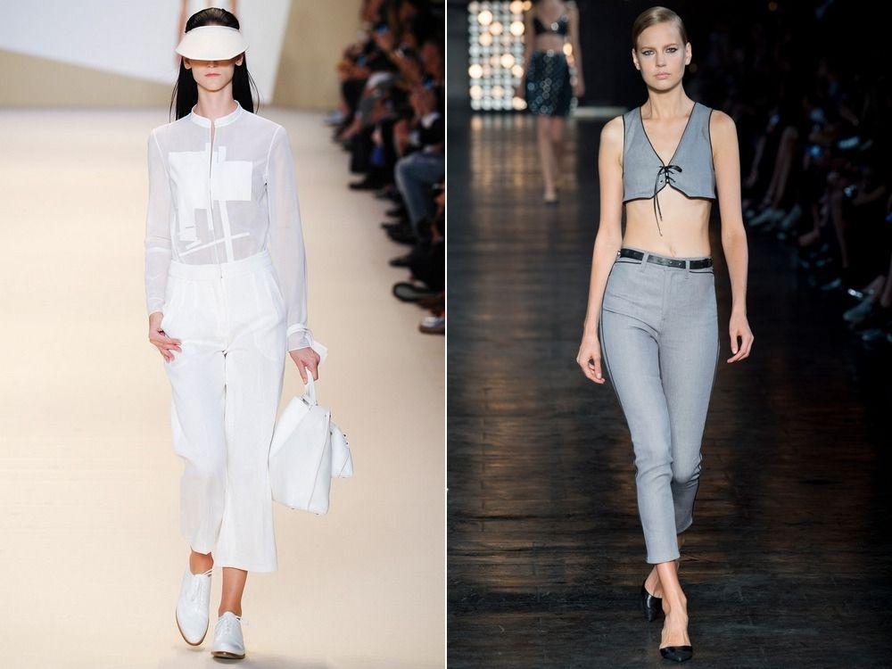 Модные укороченные женские брюки