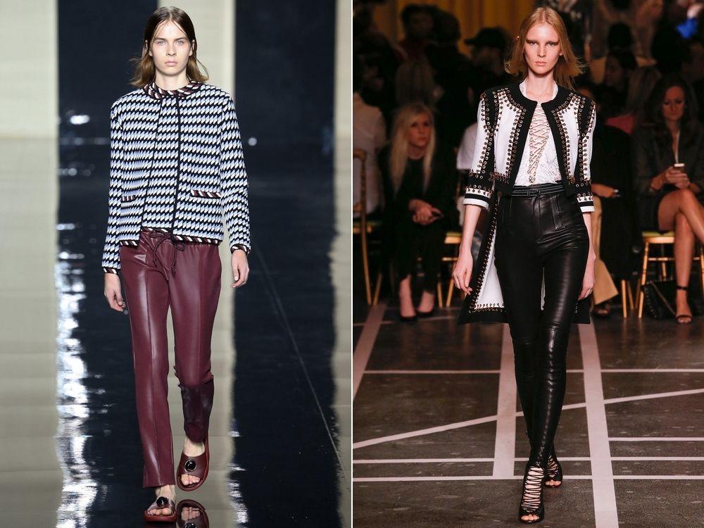 Модные женские брюки из кожи