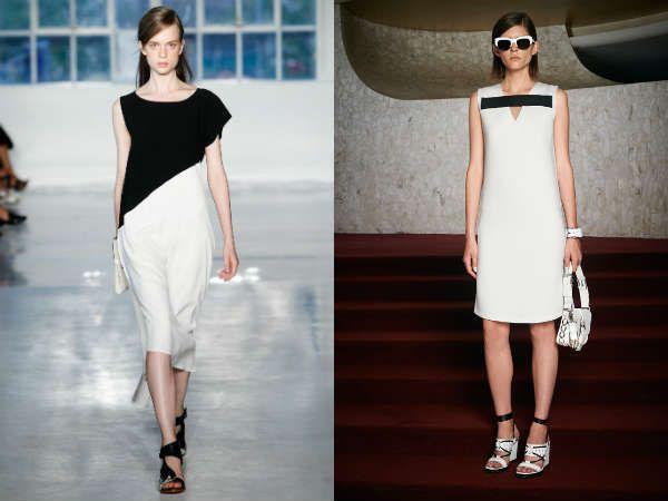 Офисные платья в сочетании белого и черного