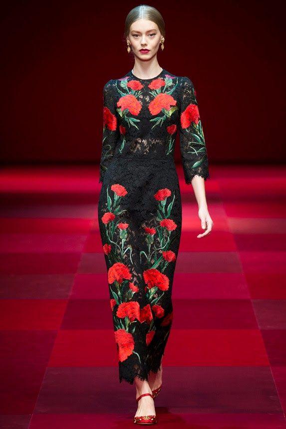 Платье dolce gabbana с цветами черное