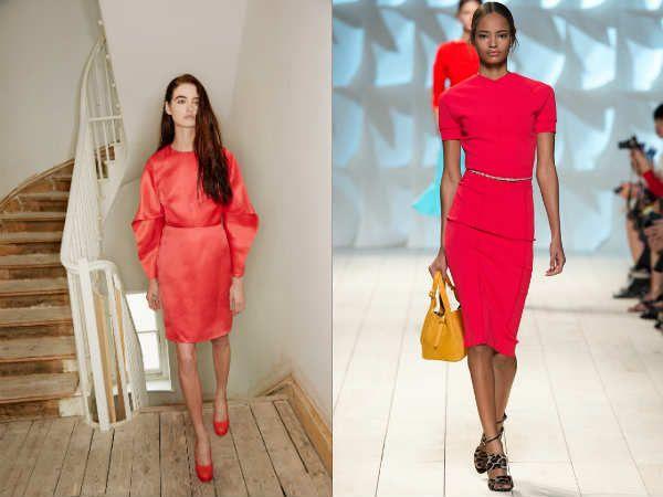 Стильное классическое красное платье