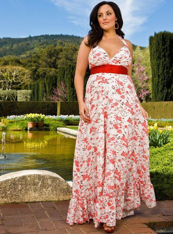 Стильные длиные платья для полных