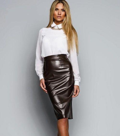 Кожаная юбка в деловом стиле