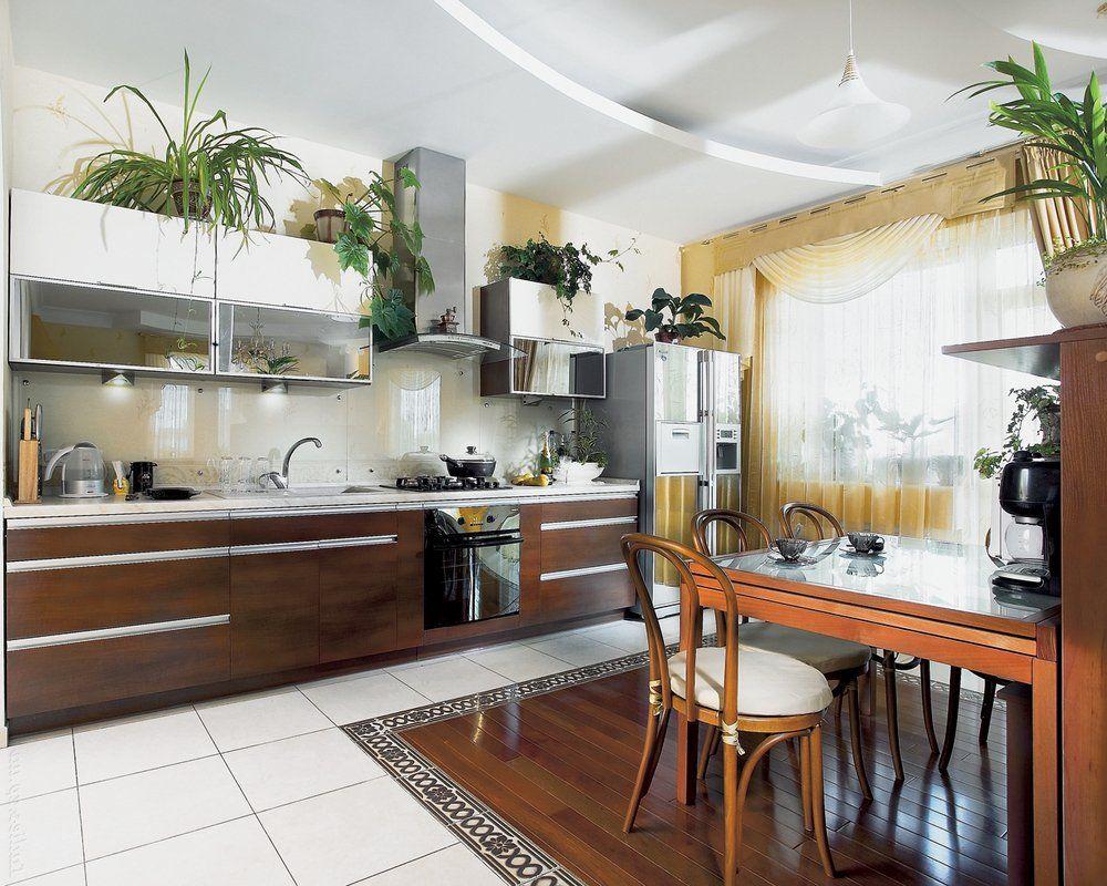 Цветы в интерьере кухни фото