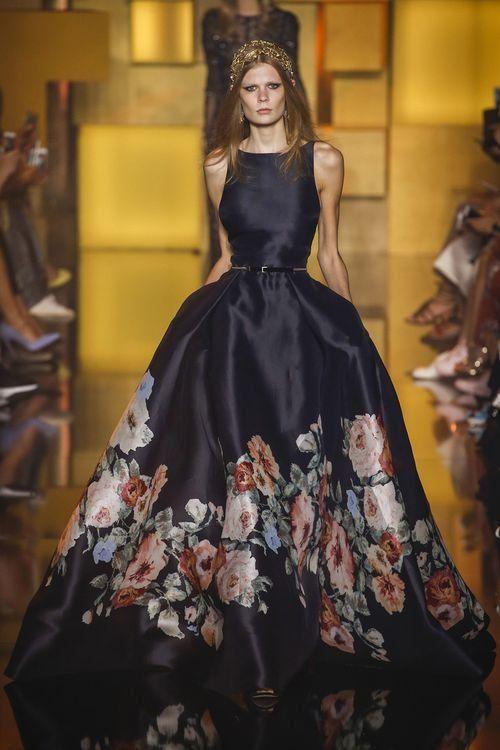 Вечернее бальное платье с цветочным принтом