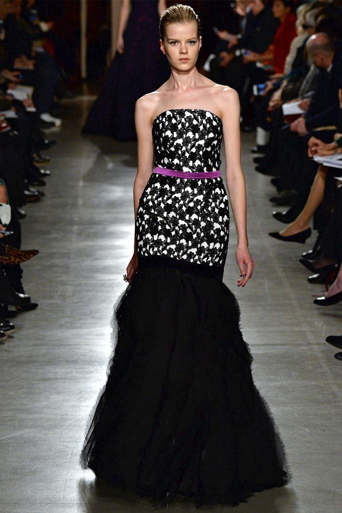 стилное вечернее платье в черно-белых тонах