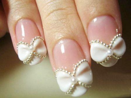 Маникюр бантик как дизайн ногтей на свадьбу