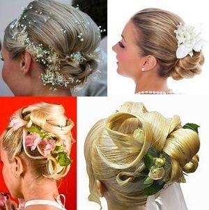 прически для невест с цветами