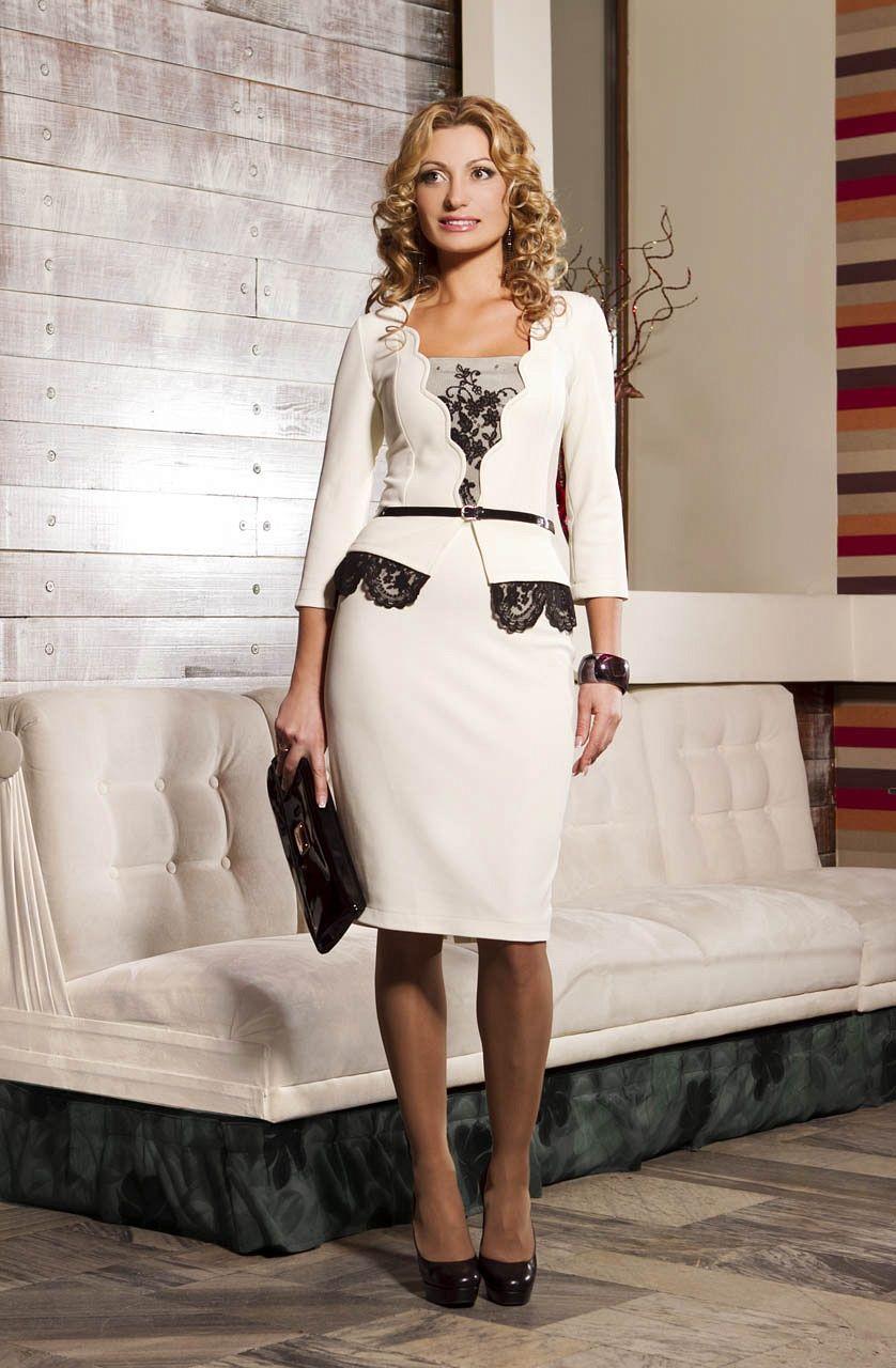 белое платье в строгом деловом стиле