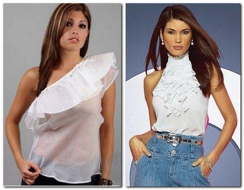 Белая блузка с рюшами