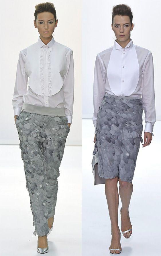 Блузки декорированные манишкой
