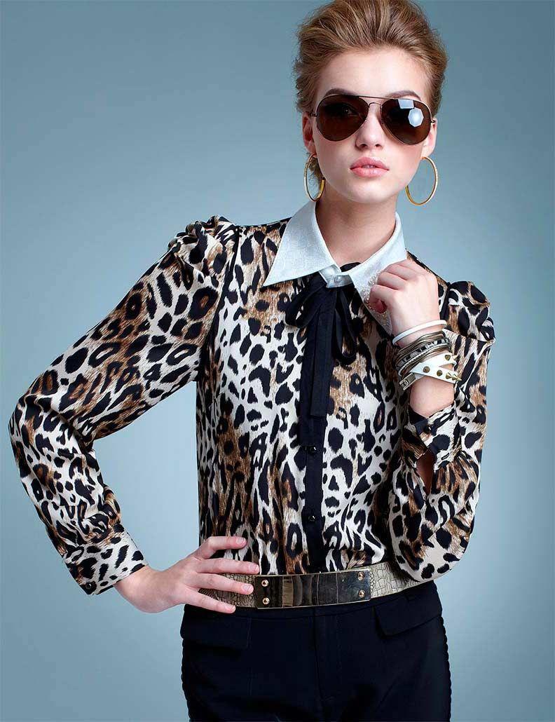 блузка-рубашка с леопардовым принтом