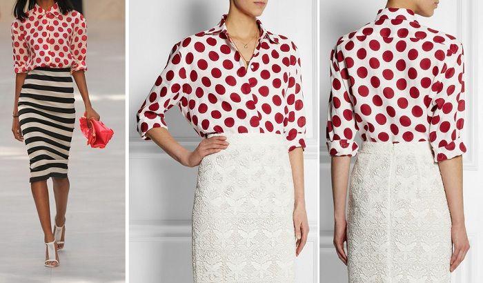 модные блузы в горох