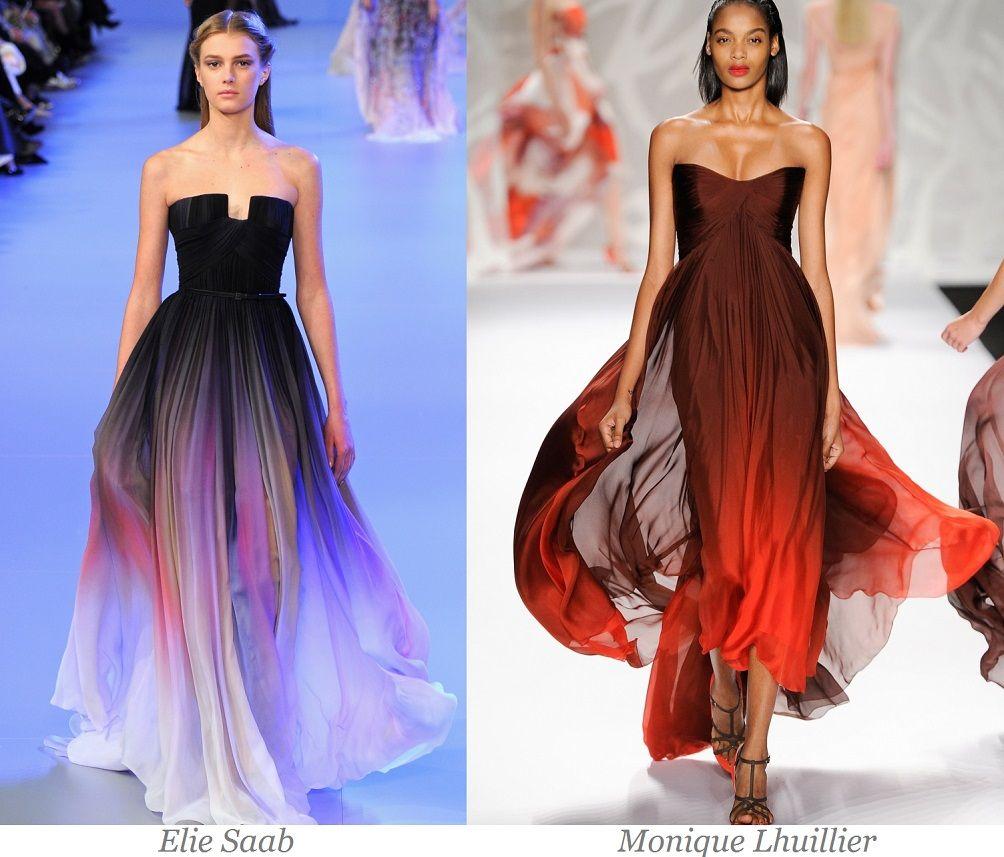 модные вечерние платья градиентной расцветки