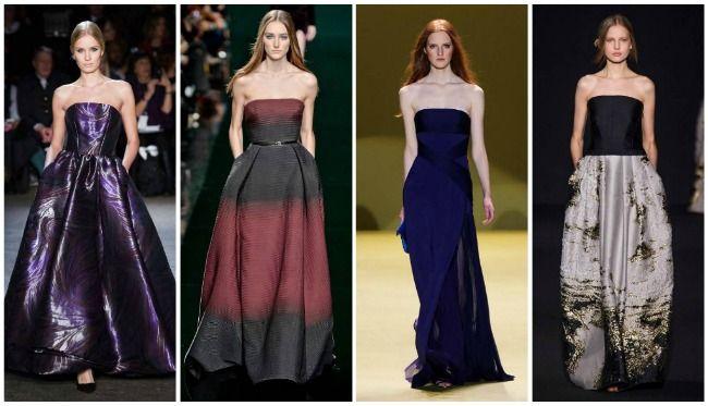 модный показ платья бюстье