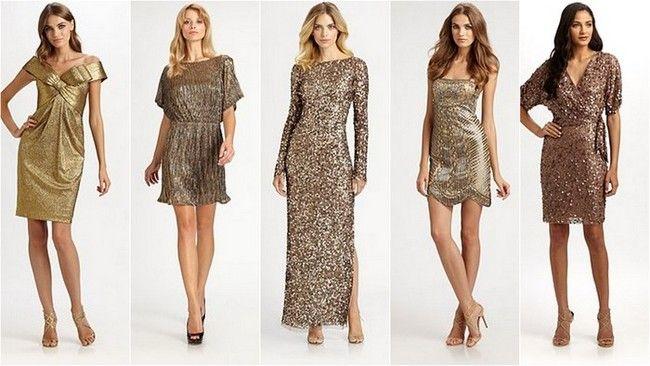 вечерние платья в золоте