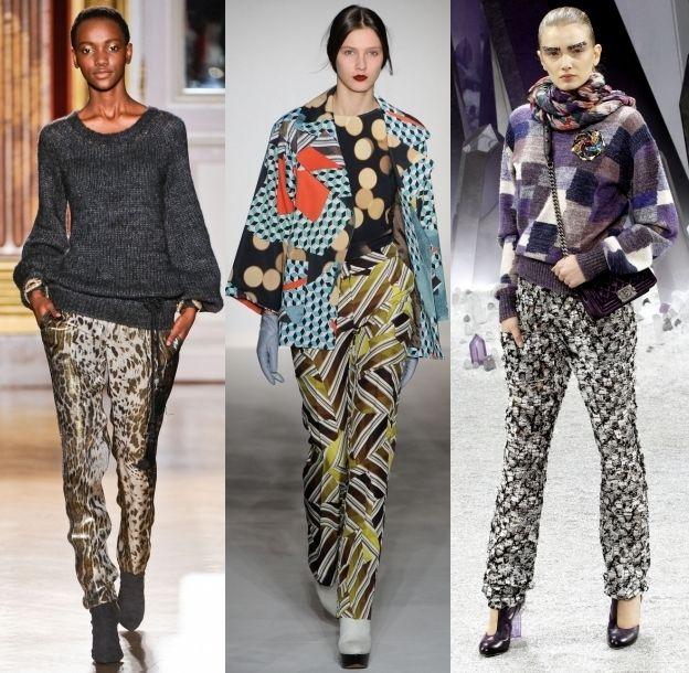 Пестрые модные брюки от модельеров