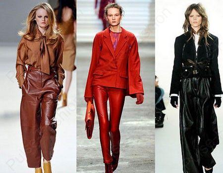 Стильные кожаные брюки пик моды