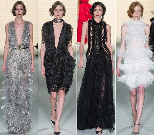 Мода 2016 вечерние платья с перьяи и бахромой