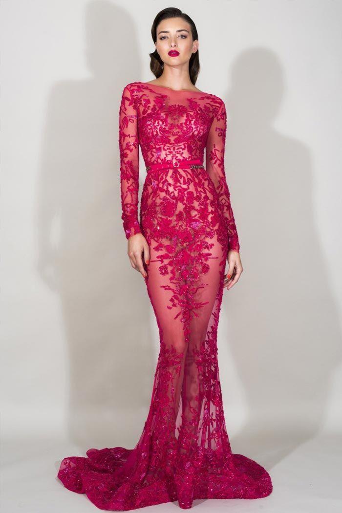 Прозрачное красное вечернее русалочье платье