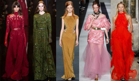 Разнообразие цветовой гаммы в вечерних платьях