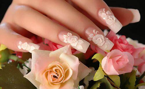 Свадебный маникюр роза на длинные ногти